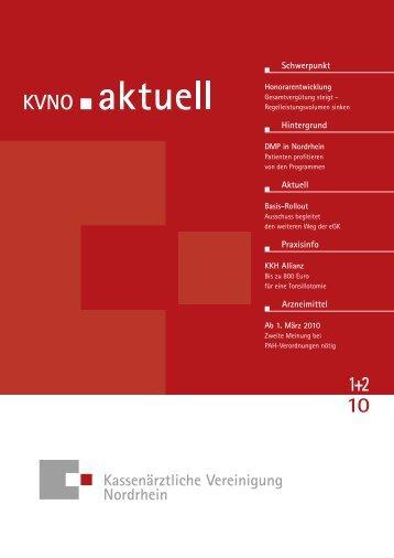 KVNO aktuell 1+2 2010 - Kassenärztliche Vereinigung Nordrhein