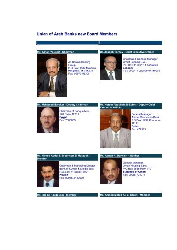 Union of Arab Banks new Board Members - Calert.info