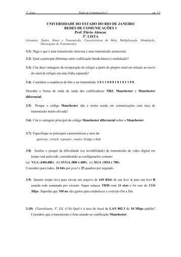 lista 3 - Comunicação de Dados