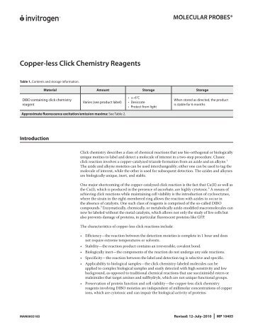 Copper-less Click Chemistry Reagents - Molecular Probes - Invitrogen