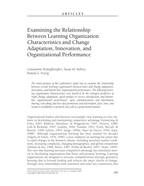 Examining the relationship between learning organization ...