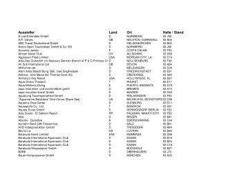 gibt es eine Liste aller Tauchsportaussteller in - Tauchen auf Nullzeit ...