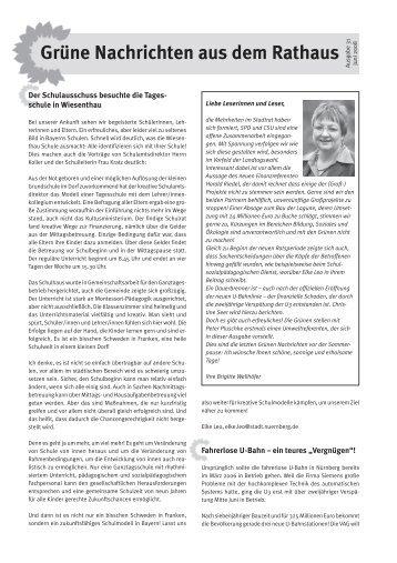 Grüne Nachrichten aus dem Rathaus - Ausgabe 31 ... - Stadt Nürnberg