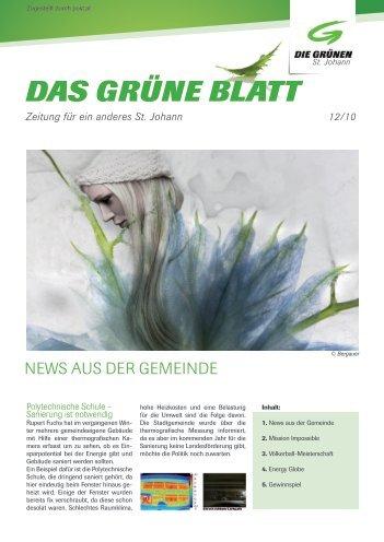 DAS GRÜNE BLATT - Die Grünen St Johann im Pongau