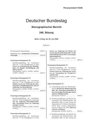 Stenographischer Bericht 246. Sitzung - Deutscher Bundestag