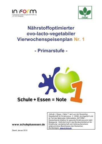 Primarstufe - Schule + Essen = Note 1