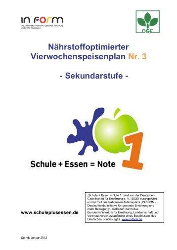Sekundarstufe - Schule + Essen = Note 1