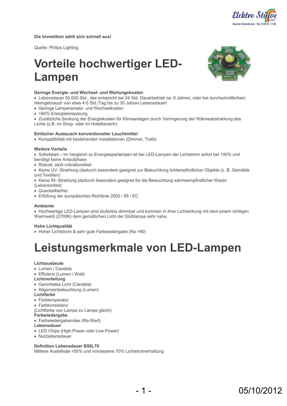 Led Lampen: Vorteile Von Led Lampen