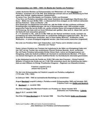 Schwarzwaldau von 1840 1945 / Im Besitz der Familie von Portatius :