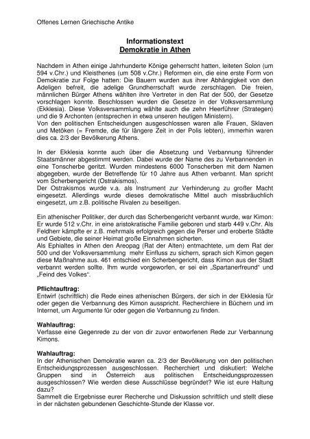 Informationstext Demokratie In Athen Verein Fur Geschichte Und