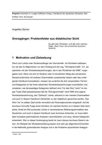 Grenzgänger: Problemfelder aus didaktischer Sicht 1 ... - StudiGer