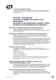 Infoblatt – Grenzgänger Sie wohnen in Belgien und arbeiten in den ...