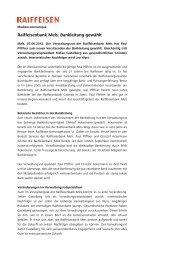 Medienmitteilung Wahl der neuen Bankleitung - Raiffeisen