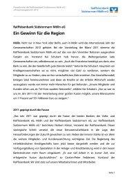 Jahrespressegespräch 2012 - Raiffeisenbank Südstormarn Mölln eG