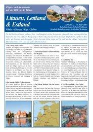 Klaipeda - Riga - Tallinn Pilger - Pastorale Dienste