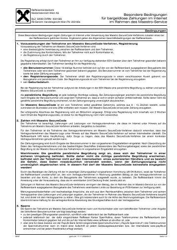 Besondere Bedingungen für bargeldlose Zahlungen im ... - Raiffeisen