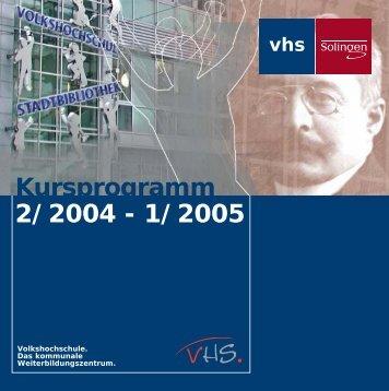 Kursprogramm 2/2004 - 1/2005 Beruflic 2/2004 - Stadt Solingen