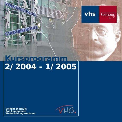Kursprogramm 2 2004 1 2005 Beruflic 2 2004 Stadt Solingen