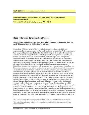 Rede Hitlers vor der deutschen Presse - Kurt Bauer Geschichte