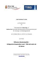 Offensive Standortpolitik - Erfolgreiche Kooperation Land - TMG seit ...