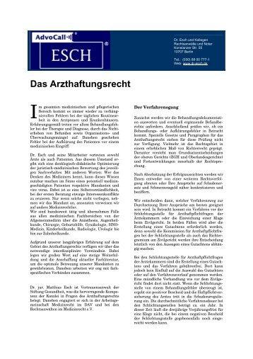 Das Arzthaftungsrecht - Dr. Matthias Esch