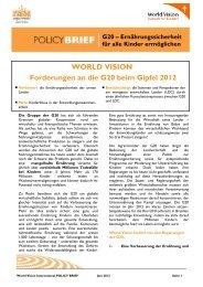 WORLD VISION Forderungen an die G20 beim Gipfel 2012