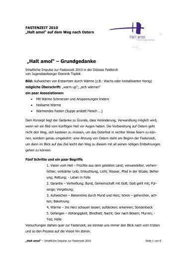 Halt amol - Grundgedanke-Inhalt - Katholische Kirche Vorarlberg