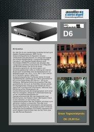 Unser Tagesmietpreis: D6: 25,00 Eur - audio concept