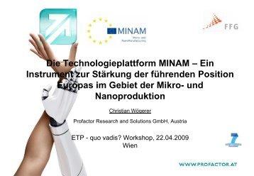 Die Technologieplattform MINAM - FFG 7. Rahmenprogramm