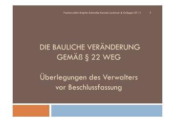 DIE BAULICHE VERÄNDERUNG GEMÄß § 22 WEG - Pantaenius.eu