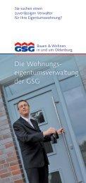 Die Wohnungs eigentums verwaltung der GSG - GSG Oldenburg