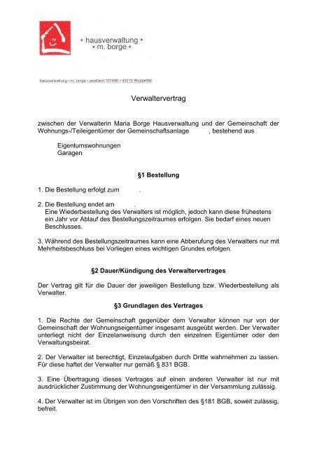 Verwaltervertrag Herunterladen Hausverwaltung Borge