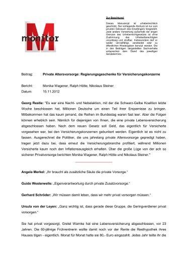 Sendungsbeitrag als PDF, 80 kB - WDR.de