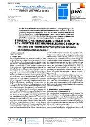 STEUERLICHE MASSGEBLICHKEIT DES REVIDIERTEN ... - PwC