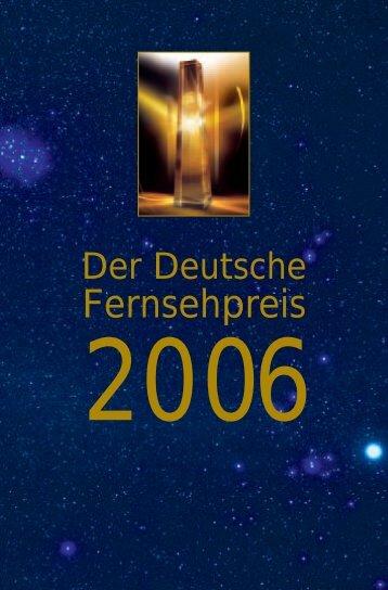 Das komplette Programmheft 2006 - Deutscher Fernsehpreis