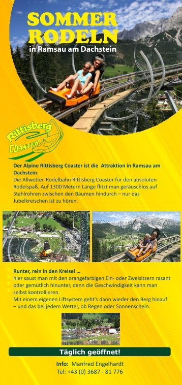 Der Alpine Rittisberg Coaster ist die Attraktion in Ramsau am ...