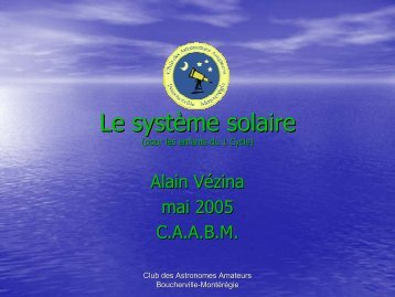 Le système solaire [PDF] - Club Astronomie Amateur Boucherville ...