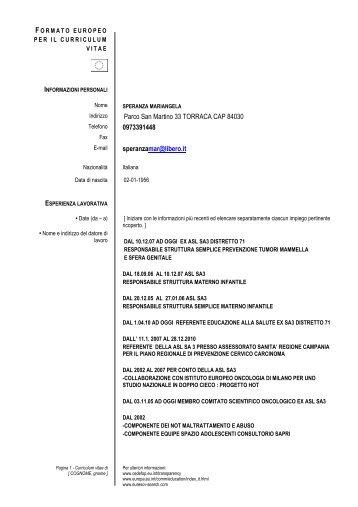 curriculum vitae et studiorum redatto secondo il formato europeo