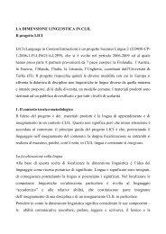 LA DIMENSIONE LINGUISTICA IN CLIL Il progetto LICI LICI ...