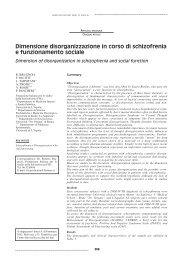 Dimensione disorganizzazione in corso di schizofrenia e ...