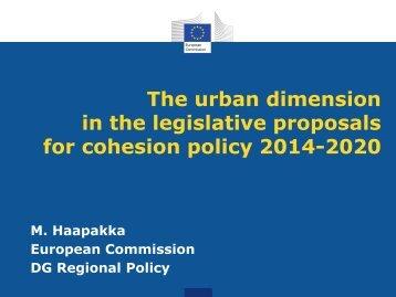 The urban dimension in the legislative proposals for - European ...