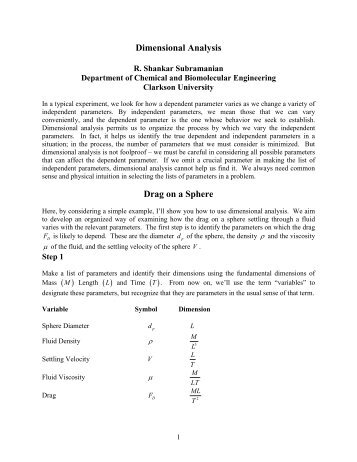 Dimensional Analysis - Clarkson University