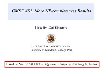 NP-completeness Results - School of Computer Science