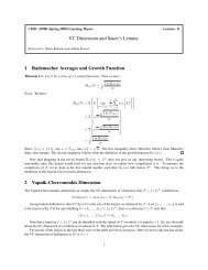 VC Dimension and Sauer's Lemma 1 Rademacher Averages and ...