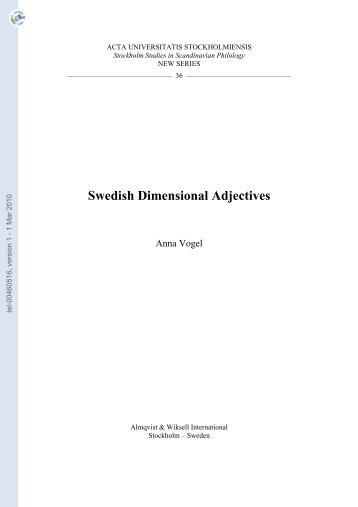 [tel-00460516, v1] Swedish Dimensional Adjectives - Hprints.org