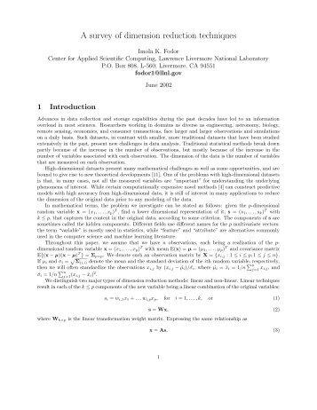 A survey of dimension reduction techniques - Computation ...