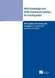 NHS knowledge and skills framework outlines for nursing posts - RCN