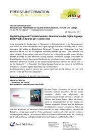 Nominierten des Digital Signage Best Practice Awards - Viscom