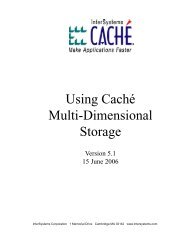 Using Caché Multi-Dimensional Storage - InterSystems