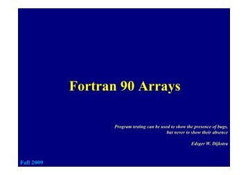 Fortran 90 Arrays